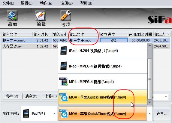 iPad视频转换器 - 视频格式文件设置